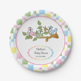 Playful Squirrel Baby Shower Theme Paper Plate