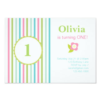 Playful Striped Birthday Invitation