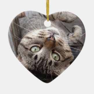 Playful Striped Feral Tabby Cat Ceramic Heart Decoration