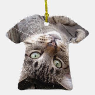 Playful Striped Feral Tabby Cat Ceramic T-Shirt Decoration
