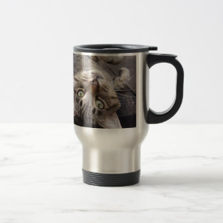 Playful Striped Feral Tabby Cat Stainless Steel Travel Mug