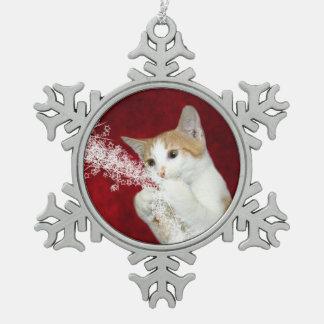 Playful tabby Christmas kitty Snowflake Pewter Christmas Ornament