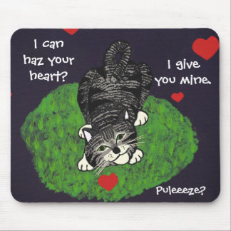 Playful Tabby Kitten Hearts Mouse Pad
