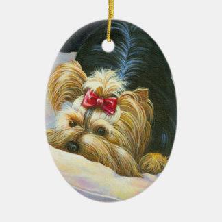 Playful Yorkie Christmas Ornament