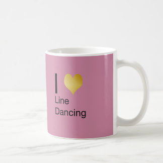 Playfully Elegant  I Heart Line Dancing Basic White Mug