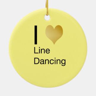 Playfully Elegant  I Heart Line Dancing Round Ceramic Decoration