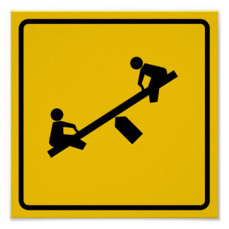 Playground Area Highway Sign Poster
