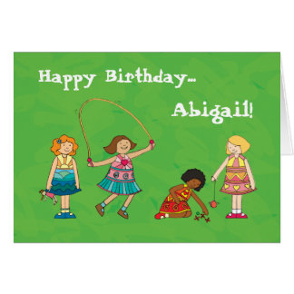 Playground Girls personalised birthday card