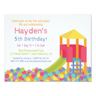 Playground Gym Ball Pits Kid Birthday Party Card