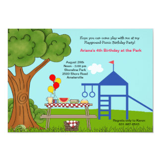 "Playground Picnic Birthday Party 5"" X 7"" Invitation Card"