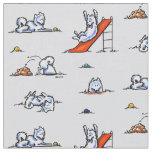 Playground Samoyeds Grey Fabric