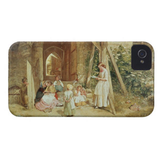 Playing at Schools, 1857 (oil on panel) iPhone 4 Case-Mate Cases