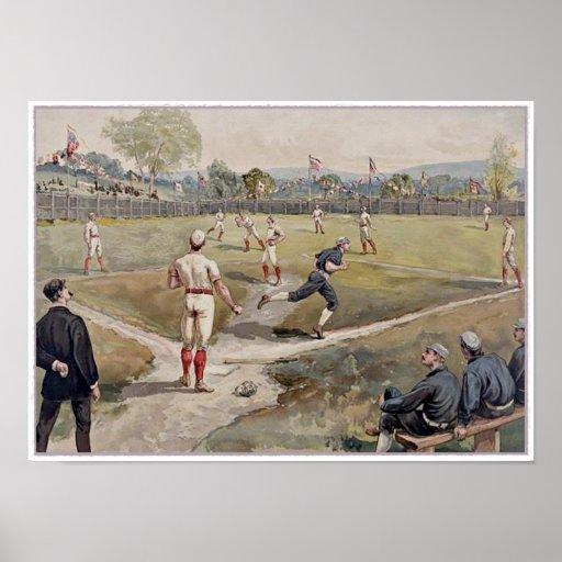 Playing Baseball Louis Prang Antique Print 1887