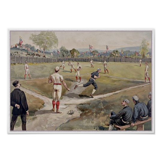 Playing Baseball Louis Prang Antique Print 1887