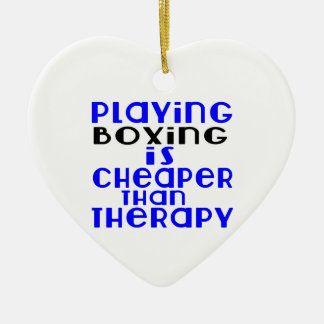 Playing Boxing Cheaper Than Therapy Ceramic Heart Decoration