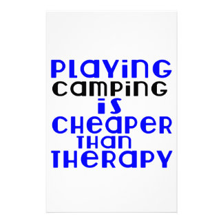 Playing Camping Cheaper Than Therapy Personalized Stationery