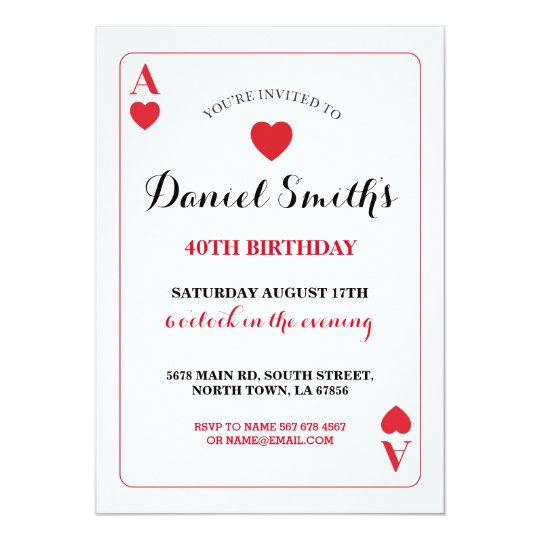 Playing Card Birthday Ace Vegas Invite Any Age