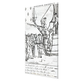 Playing card depicting immigrants arriving canvas print