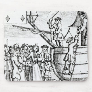 Playing card depicting immigrants arriving mouse mat