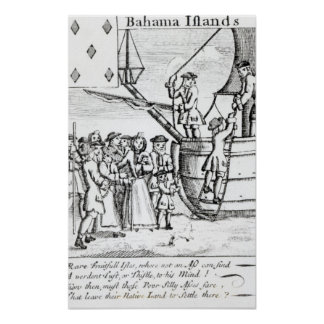Playing card depicting immigrants arriving poster