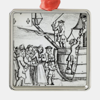 Playing card depicting immigrants arriving Silver-Colored square decoration