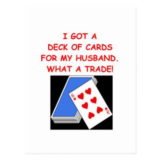 playing card joke postcard