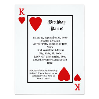 "Playing Card King Hearts Birthday Party Invitation 4.25"" X 5.5"" Invitation Card"