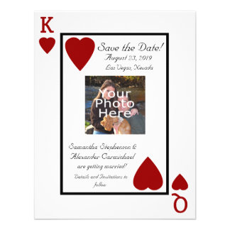 Playing Card King Queen Photo Save the Date Custom Invitations