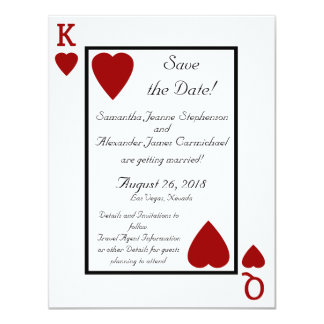 Playing Card King/Queen Save the Date 11 Cm X 14 Cm Invitation Card