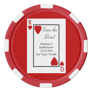 Playing Card King/Queen Save the Date Favor Poker Chips