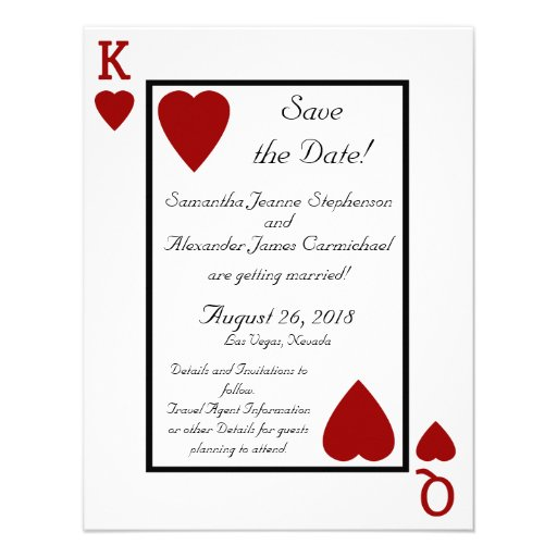 Playing Card King/Queen Save the Date Custom Announcement