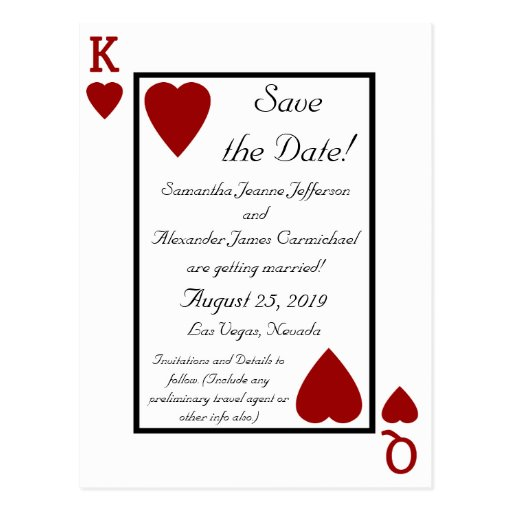 Playing Card King/Queen Save the Date Postcard