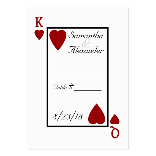 Playing Card King/Queen Table Place Cards Business Card Templates