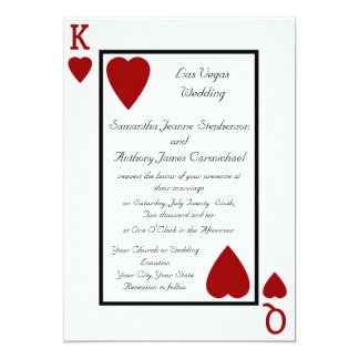 "Playing Card King/Queen Wedding Invitations 5"" X 7"" Invitation Card"