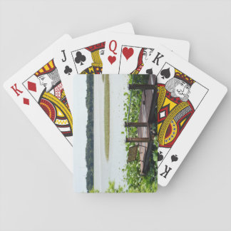 Playing Card on Photo of Dock on the Lake