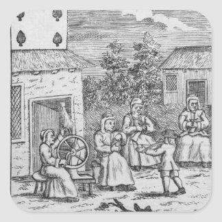 Playing Card showing workers making stockings Square Sticker