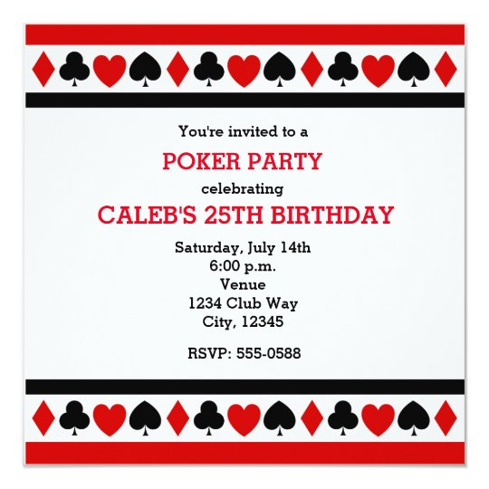 Playing Card Suites Casino Poker Party Invitations