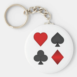 Playing Card Suits: Basic Round Button Key Ring