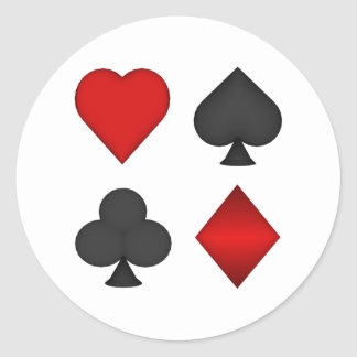 Playing Card Suits: Classic Round Sticker