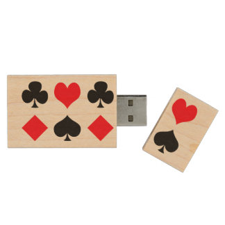 Playing Card Suits Wood USB 3.0 Flash Drive