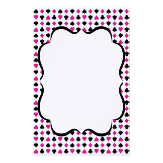 Playing Card Suits Pink and Black Personalized Stationery