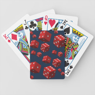 Playing cards blue back red dice