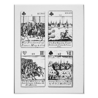 Playing cards commemorating poster