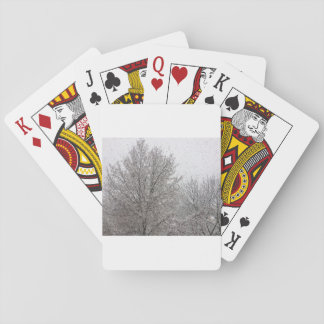 Playing cards covered with snow tree with white