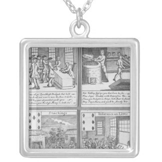 Playing Cards depicting current commercial Silver Plated Necklace