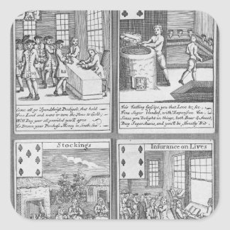 Playing Cards depicting current commercial Square Sticker
