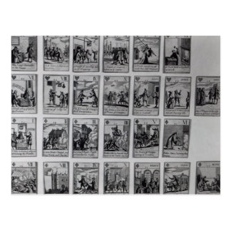 Playing cards depicting episodes post cards