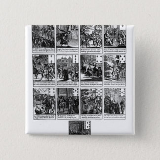 Playing cards depicting the impeachment 15 cm square badge