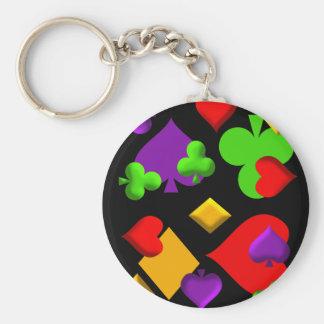 Playing Cards Figures Pattern Design Basic Round Button Key Ring