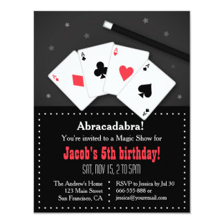 Playing Cards Magic Party Invitations